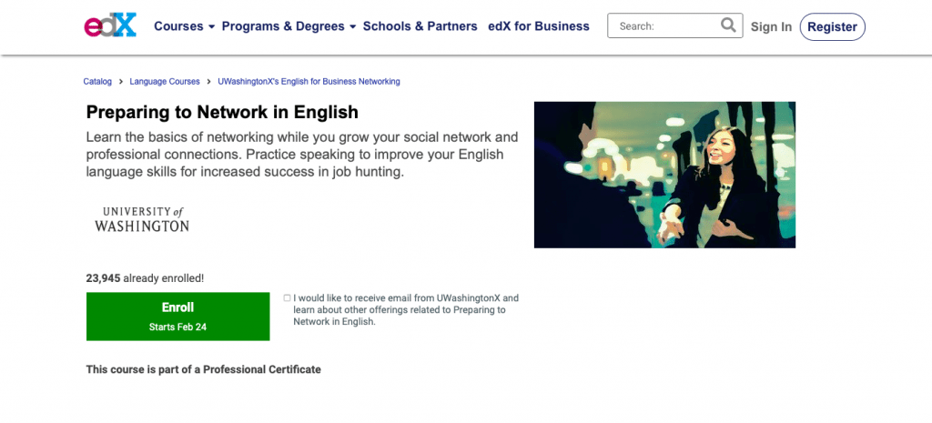 Preparing to Network in English edX