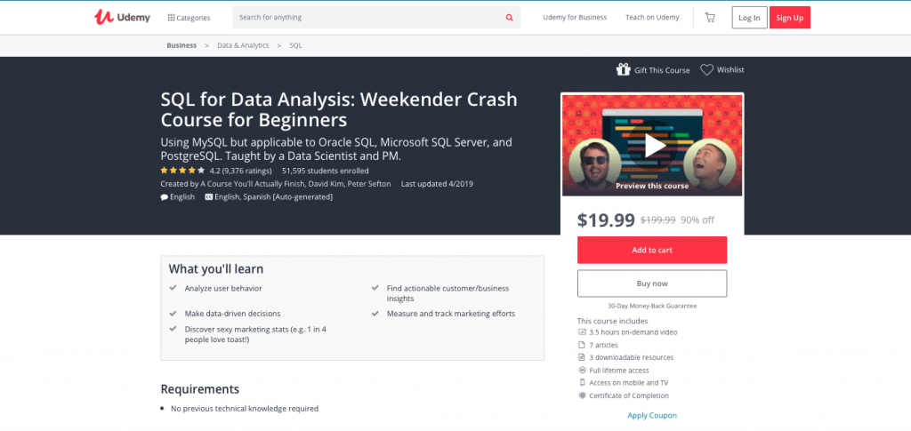 SQL for Data Analysis Weekender Crash Course for Beginners (Udemy)