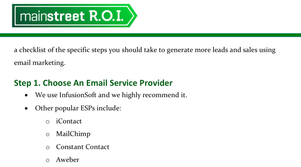Main Street ROI Email Service Provider