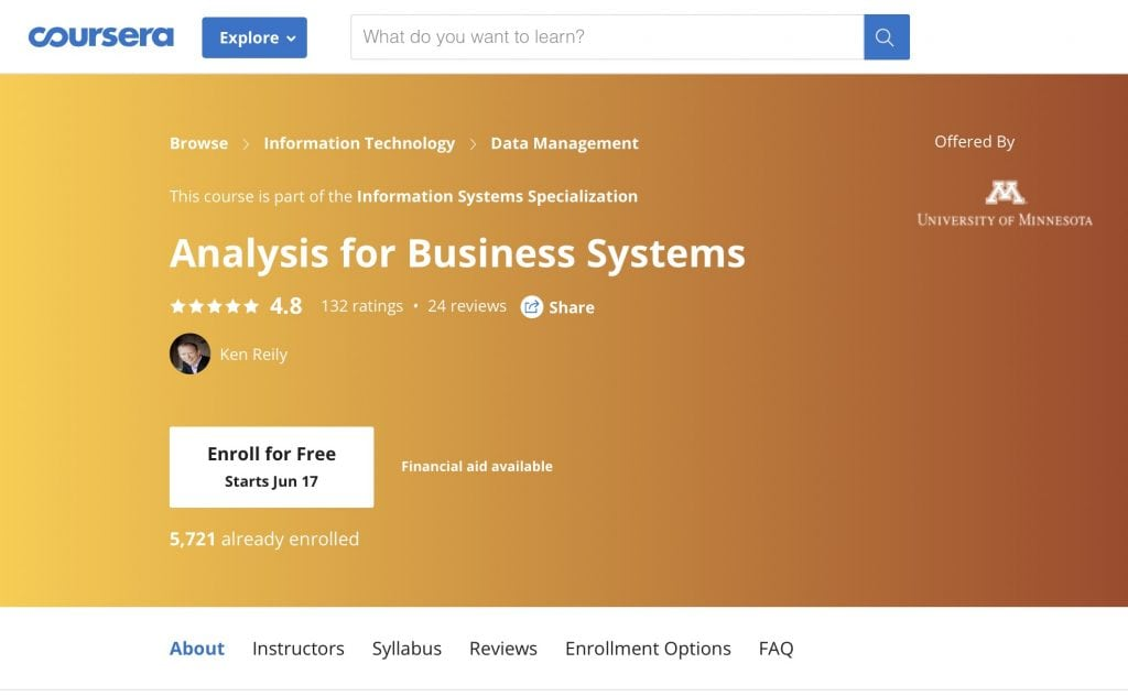 Analysis for Business Systems (University of Minnesota)