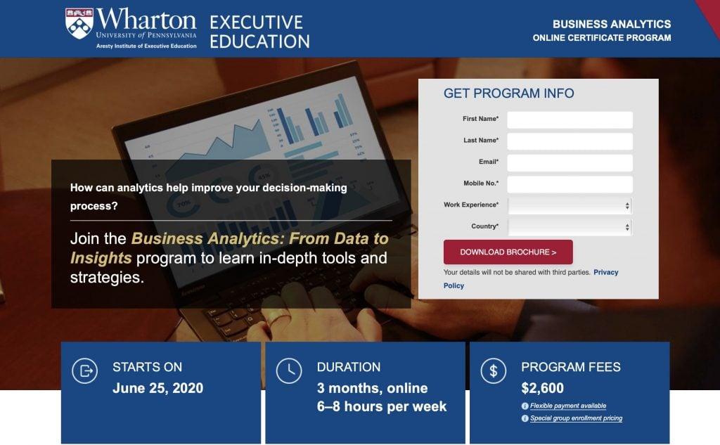 Business Analytics by Wharton University, PA