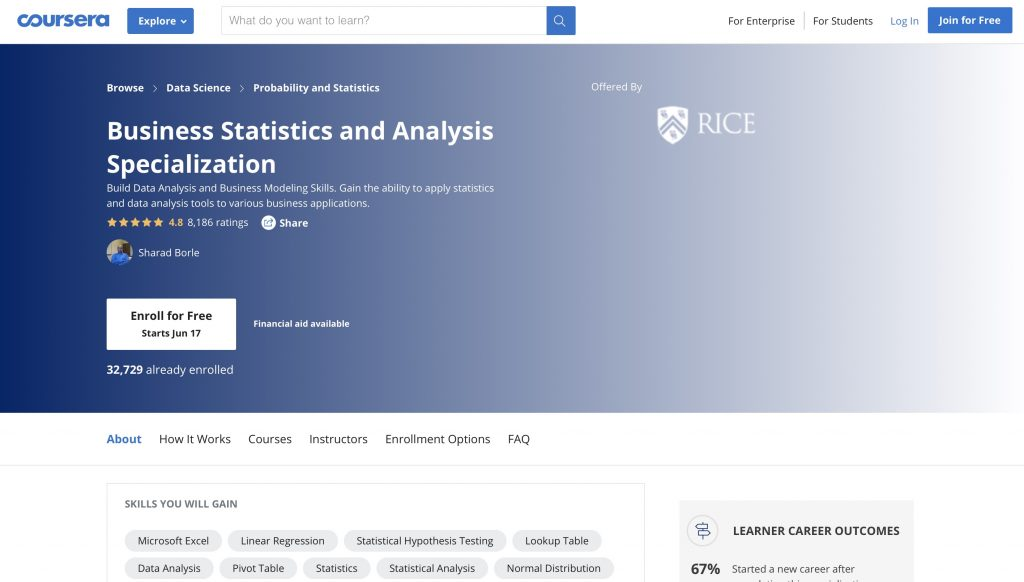 Business Statistics and Analysis Specialization by Coursera