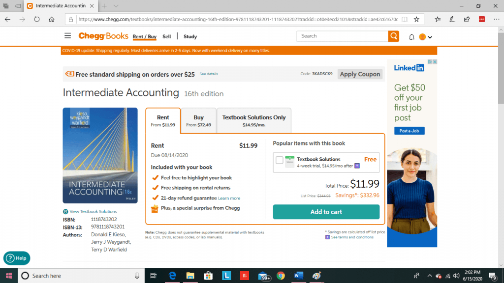 Chegg Books Order Page