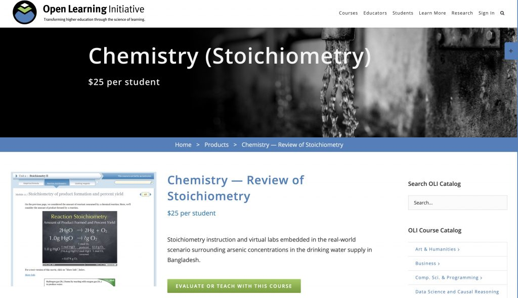 Chemistry—Review of Stoichiometry—Open Learning Initiative