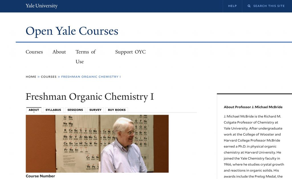 Freshman Organic Chemistry 101—Open Yale Courses