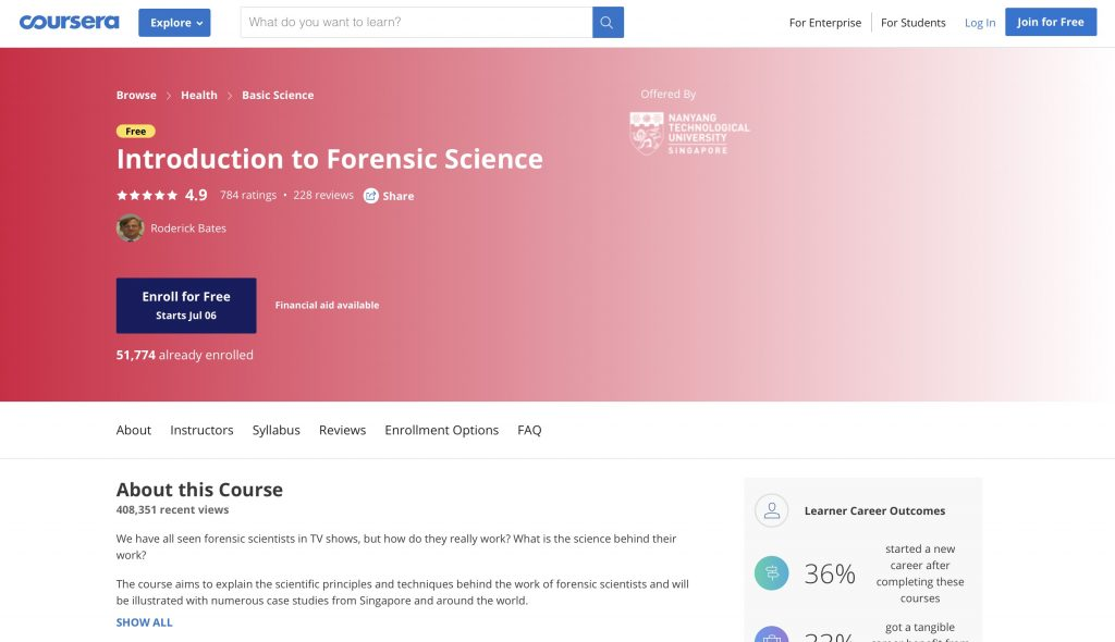 Introduction to Forensic Science—Coursera