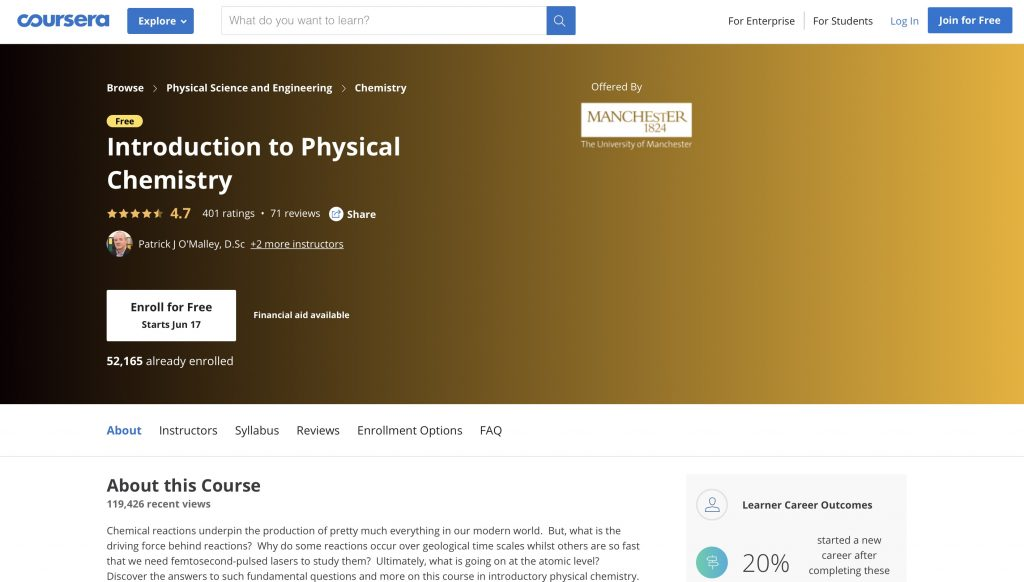 Introduction to Physical Chemistry—Coursera