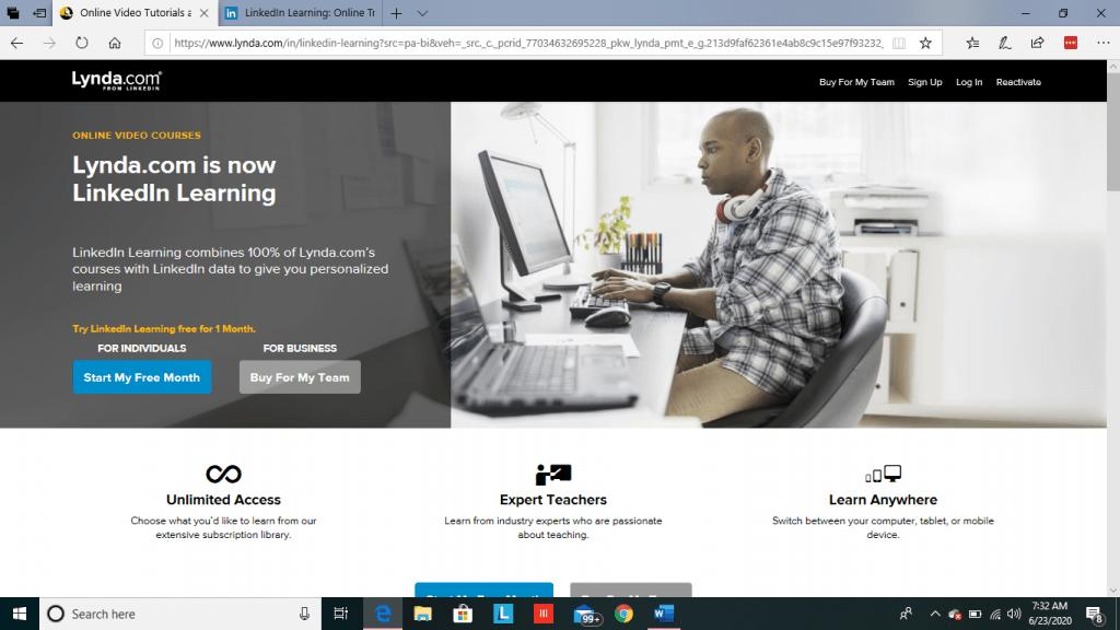LinkedIn Learning Main Page