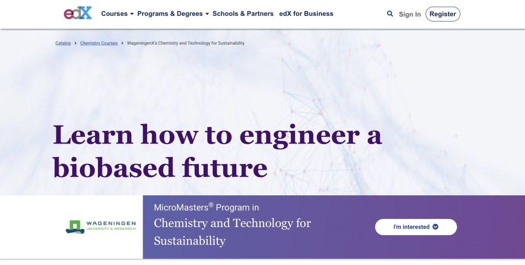 MicroMasters Program in Chemistry and Technology for Sustainability—edX