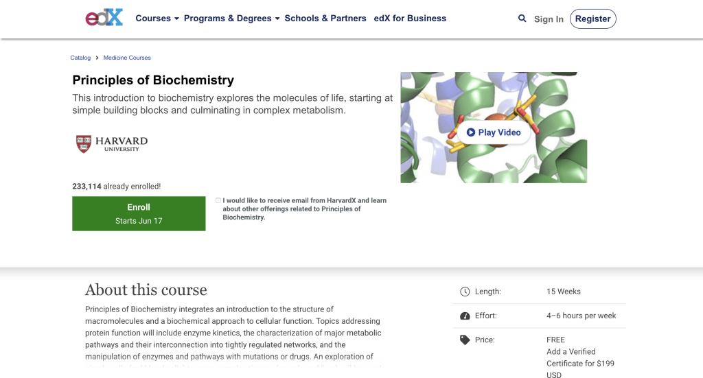 Principles of Biochemistry—edX