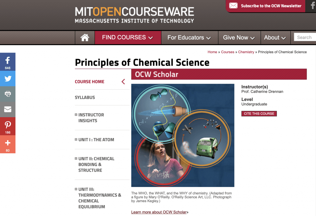 Principles of Chemical Science—MIT OpenCourseware