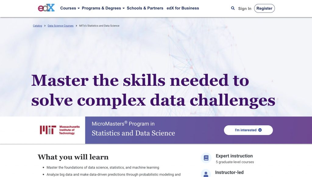 Statistics for Data Science Micromasters by edX