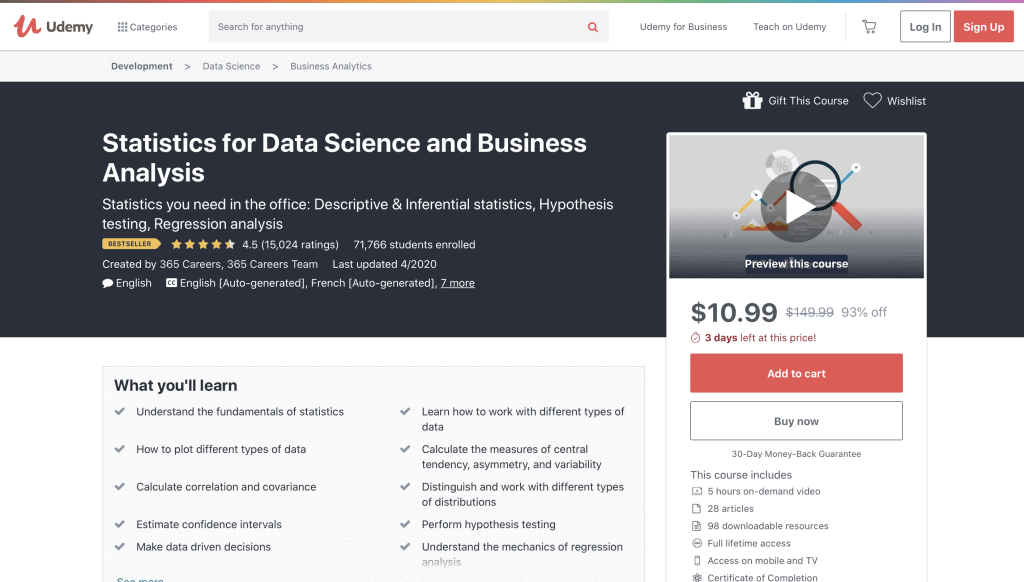 Statistics for Data Science and Business Analysis by Udemy