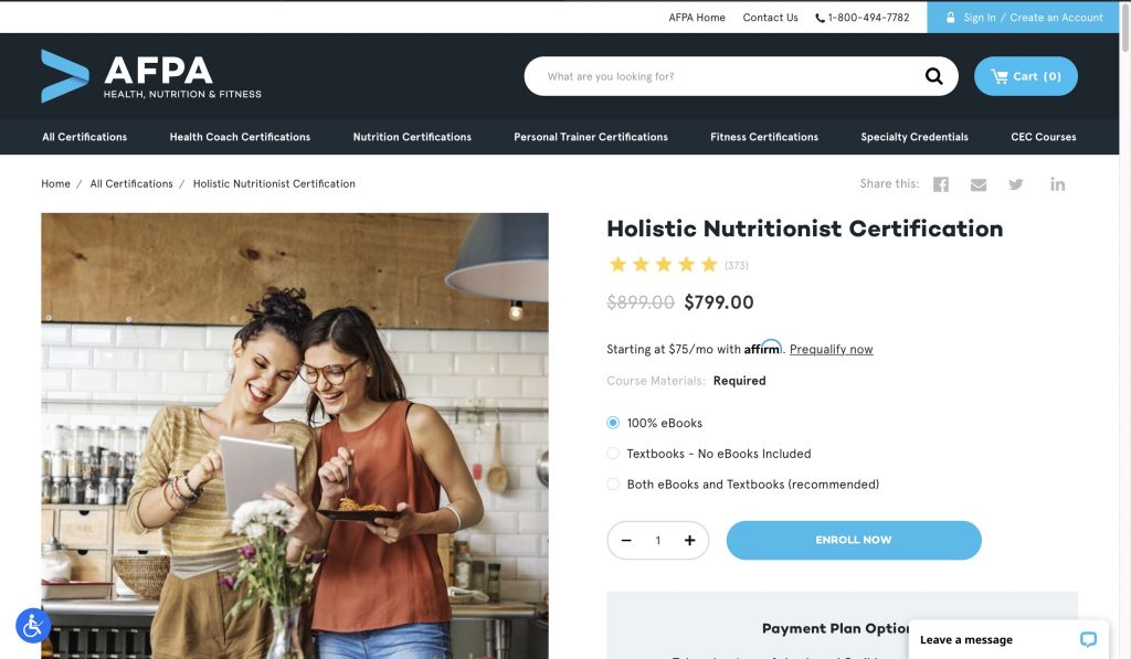 American Fitness Professionals Association—Holistic Nutritionist Certification