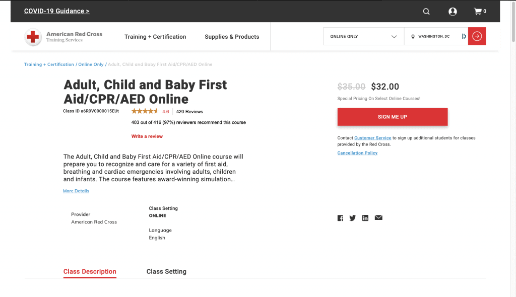 American Red Cross—Adult, Child and Baby First Aid/CPR/AED Online