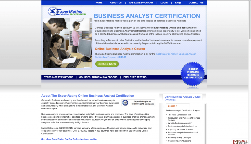 ExpertRating—Business Analyst Certification