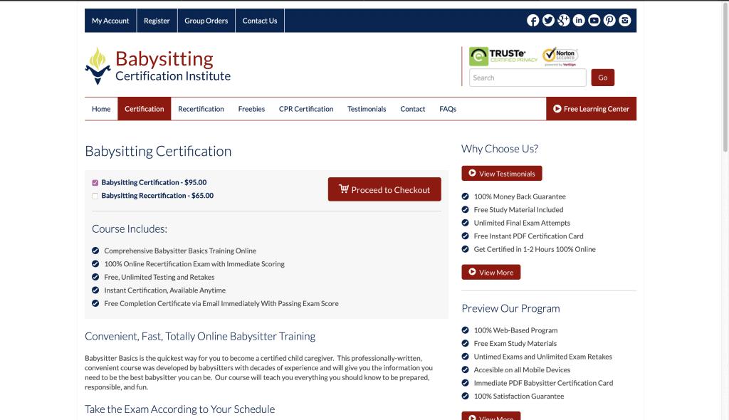 Babysitting Certification Institute—Babysitting Certification