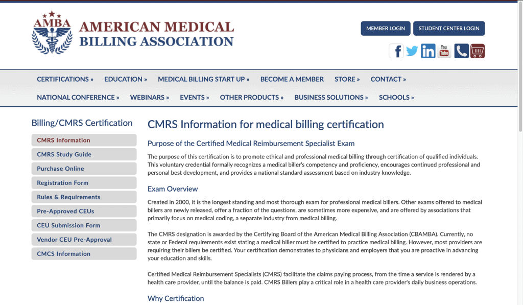 American Medical Billing Association—Certified Medical Reimbursement Specialist Exam
