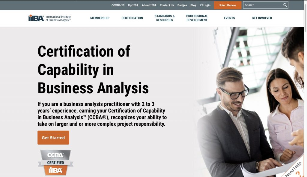 International Institute of Business Analysis—Certification of Capability in Business Analysis