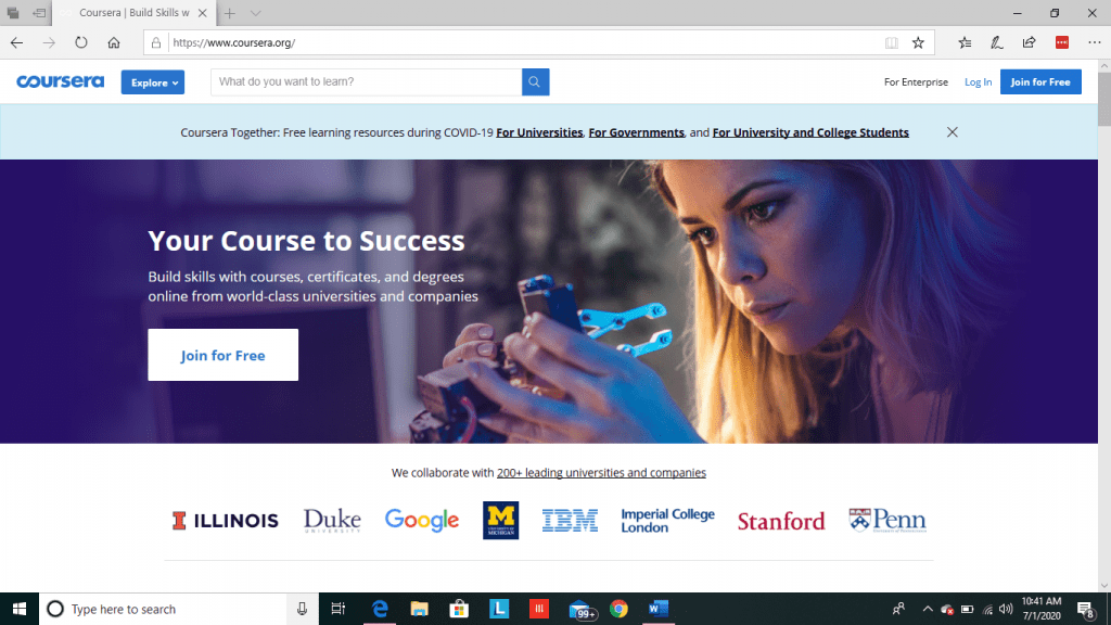 Coursera Main Page