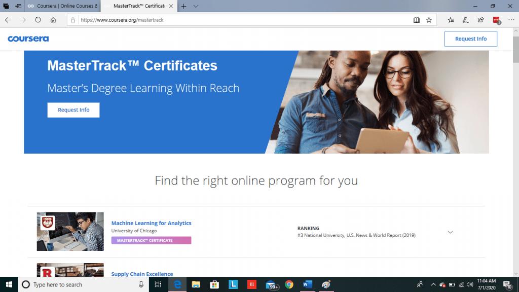 Coursera MasterTrack Certificate