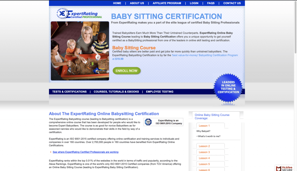 ExpertRating—Babysitting Certification