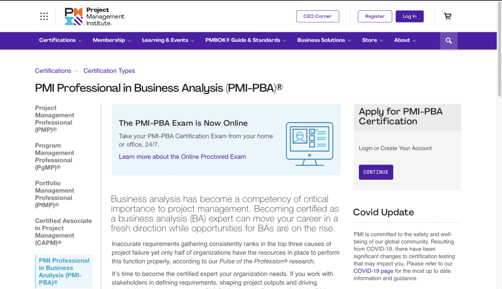 Project Management Institute—PMI Professional in Business Analysis (PMI-PBA)