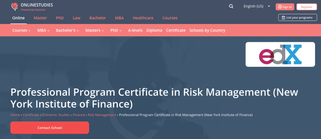 New York Institute of Finance: Professional Program Certificate in Risk Management