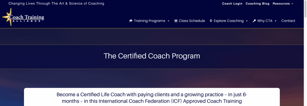 Coach Training Alliance—The Certified Coach Program