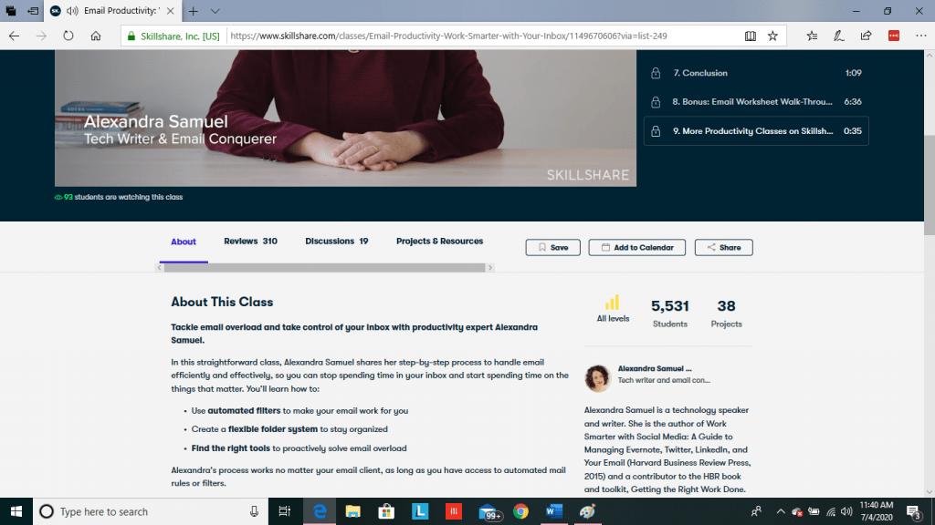 Skillshare Class Homepage