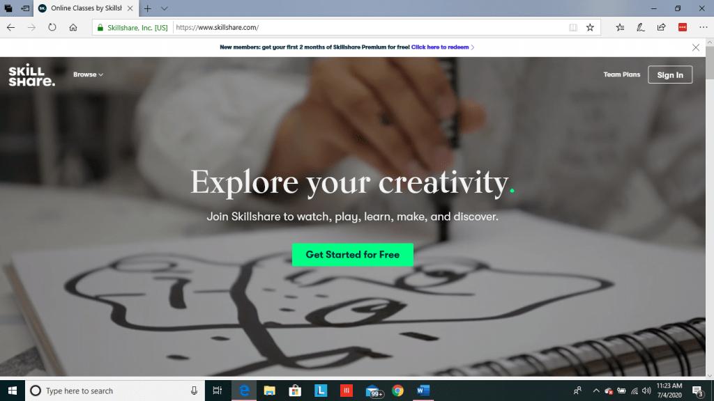 Skillshare Main Page