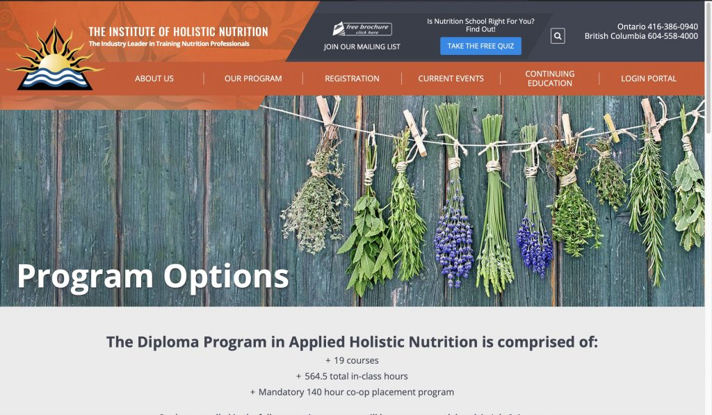 The Institute of Holistic Nutrition—Diploma Program in Applied Holistic Nutrition