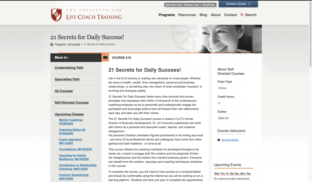 The Institute for Life Coaching—21 Secrets for Daily Success
