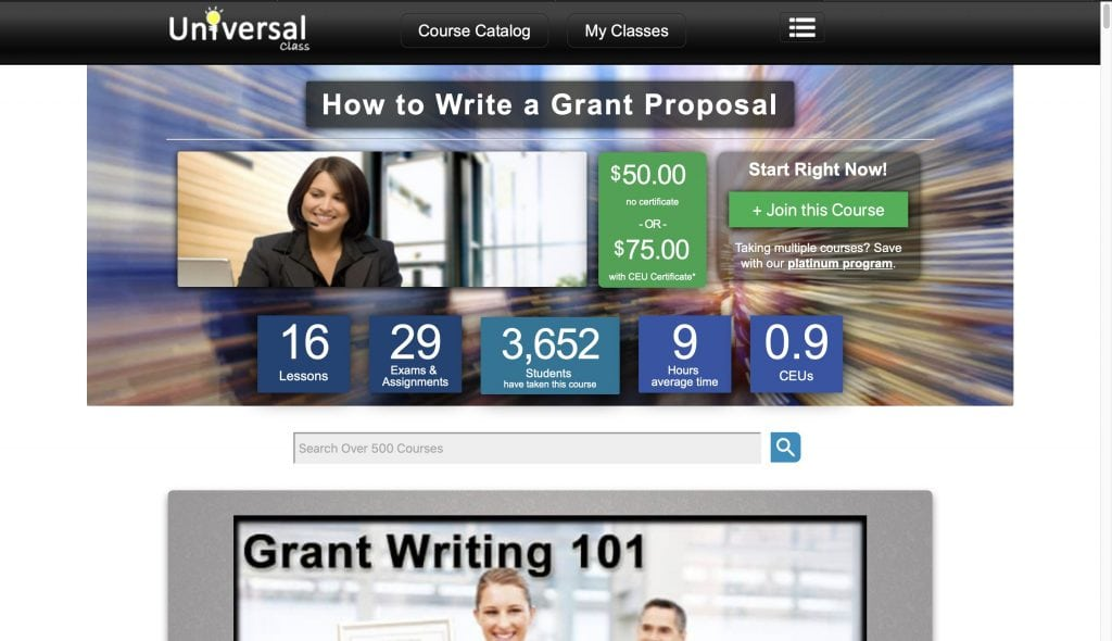 Universal Class—How to Write a Grant Proposal