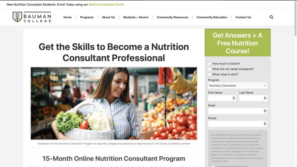 Bauman College—Nutrition Consultant Program