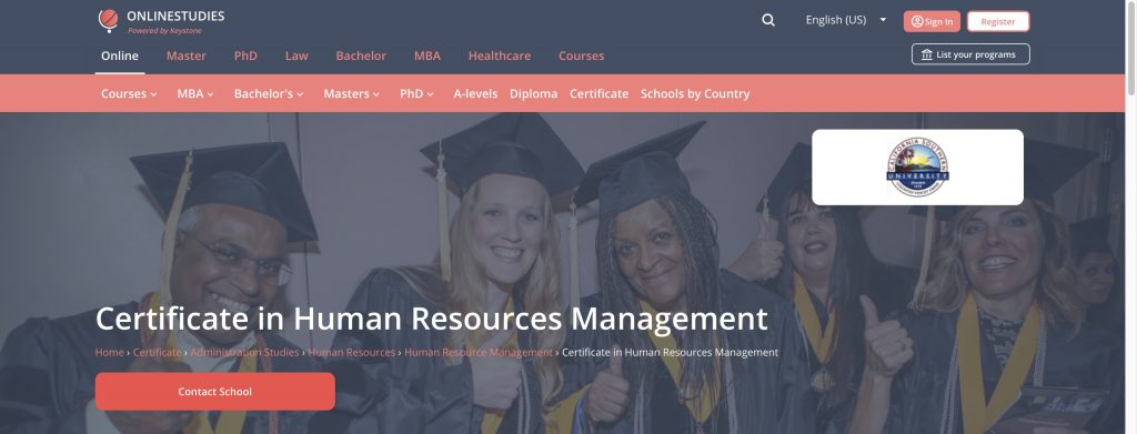 California Southern University: Certificate in HR Management