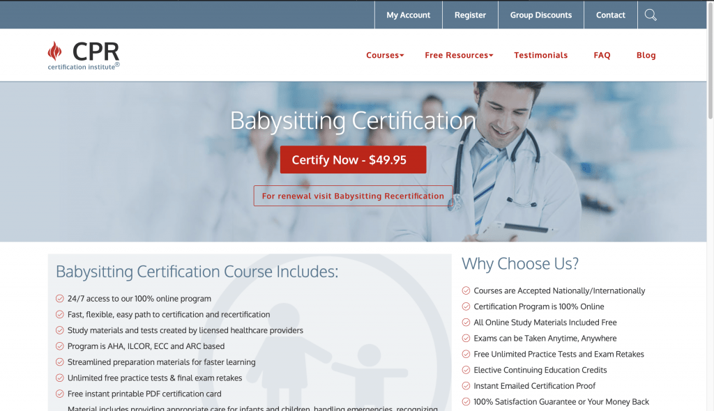 CPR Certification Institute—Babysitting Certification