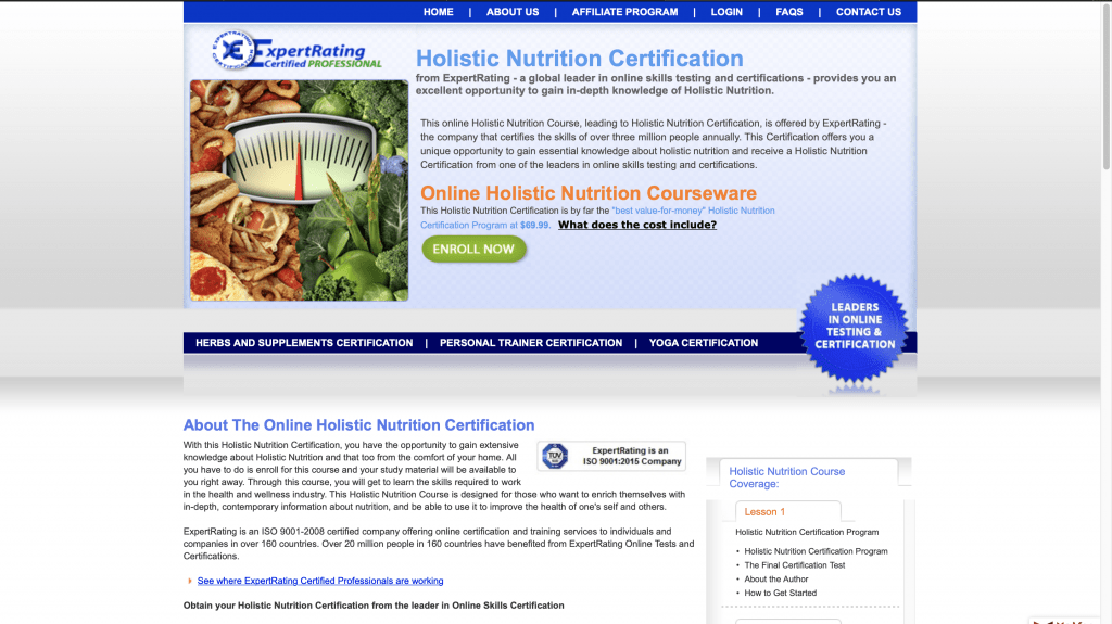 Expert Rating—Holistic Nutrition Certification