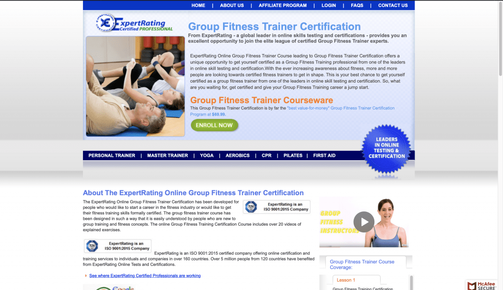 ExpertRating: Group Fitness Trainer Certification