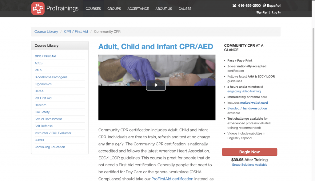 ProTrainings—Adult, Child and Infant CPR/AED