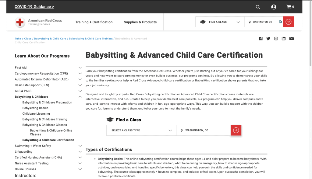 American Red Cross—Babysitting and Advanced Child Care Certification