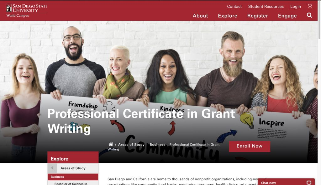 San Diego State University—Professional Certificate in Grant Writing