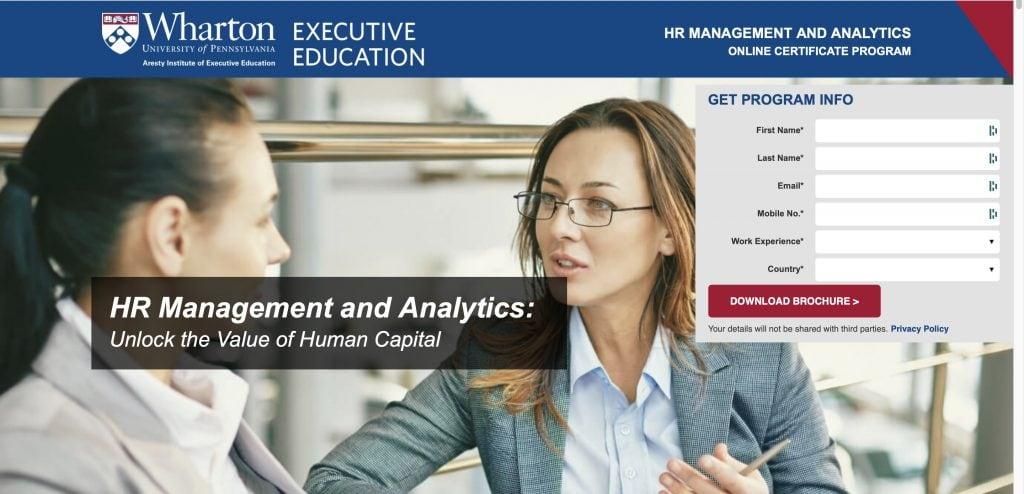 Wharton University: HR Management and Analytics Program