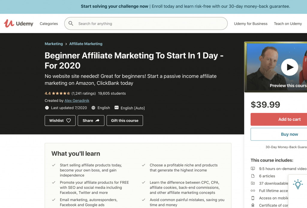 Beginner Affiliate Marketing to Start In One Day—Udemy