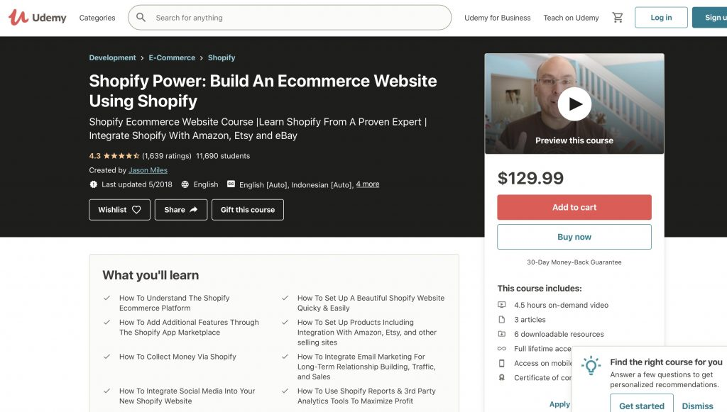 Build An Ecommerce Website Using Shopify from Udemy