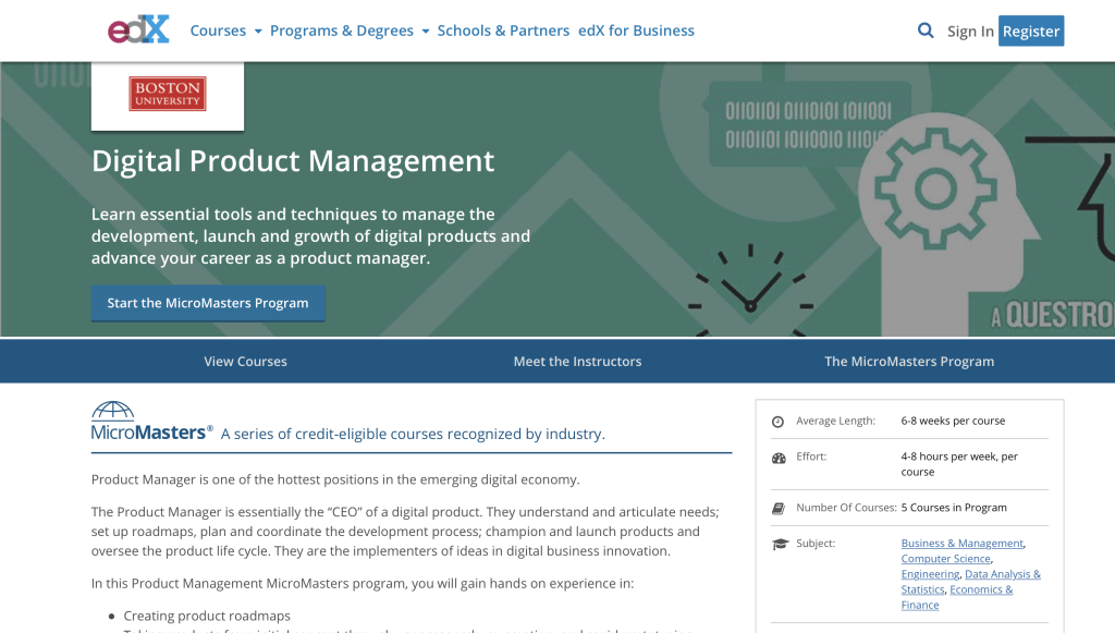 Digital Product Management by edX
