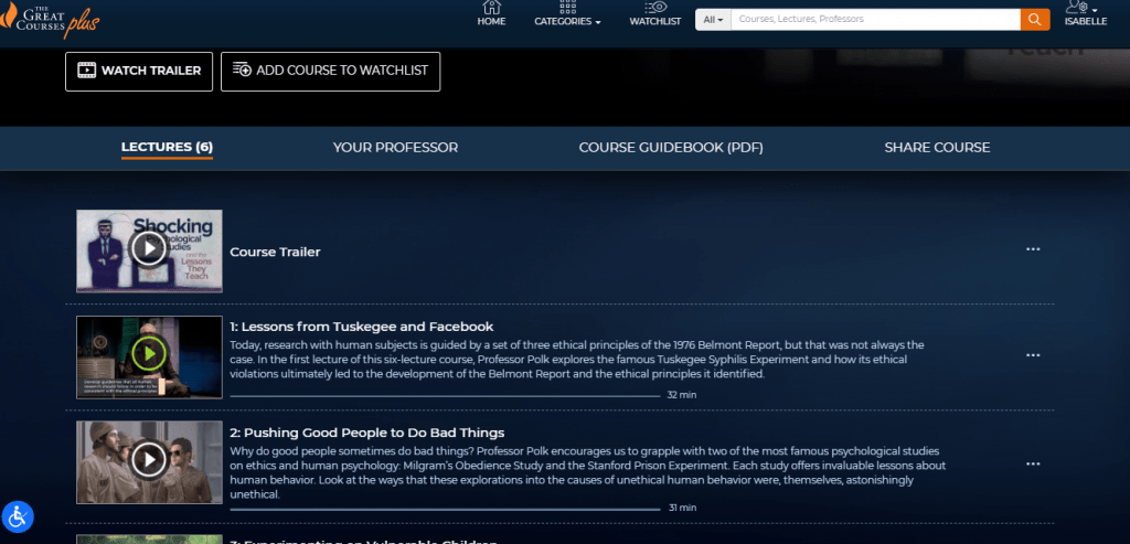 The Great Courses Plus Course Page