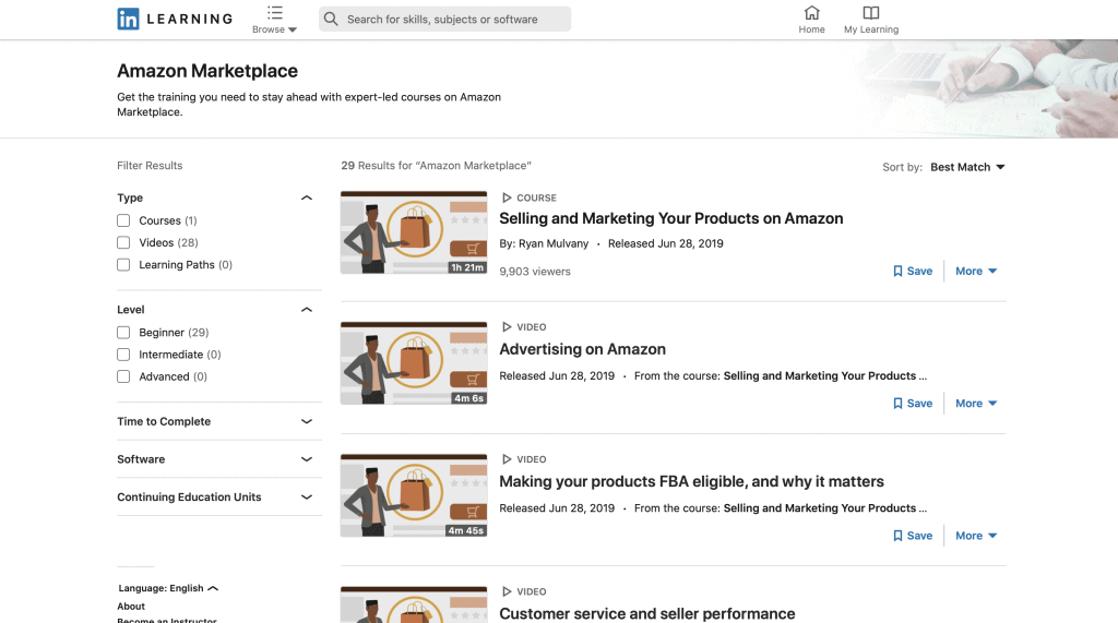 Selling on Amazon Marketplace by LinkedIn Learning
