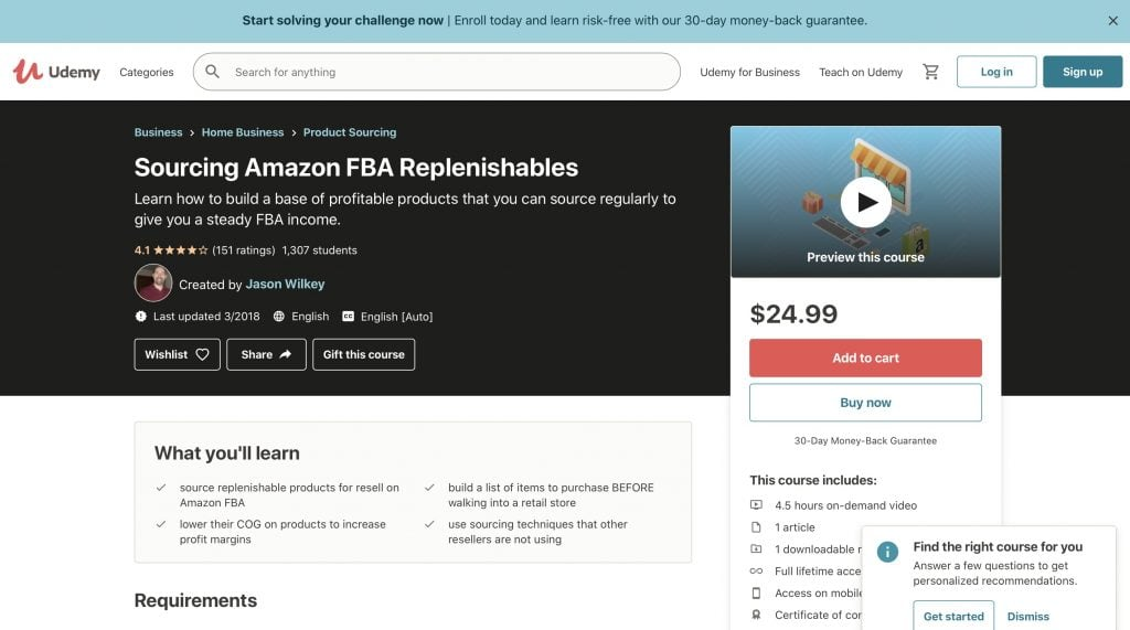 Sourcing Amazon FBA Replenishables by Udemy