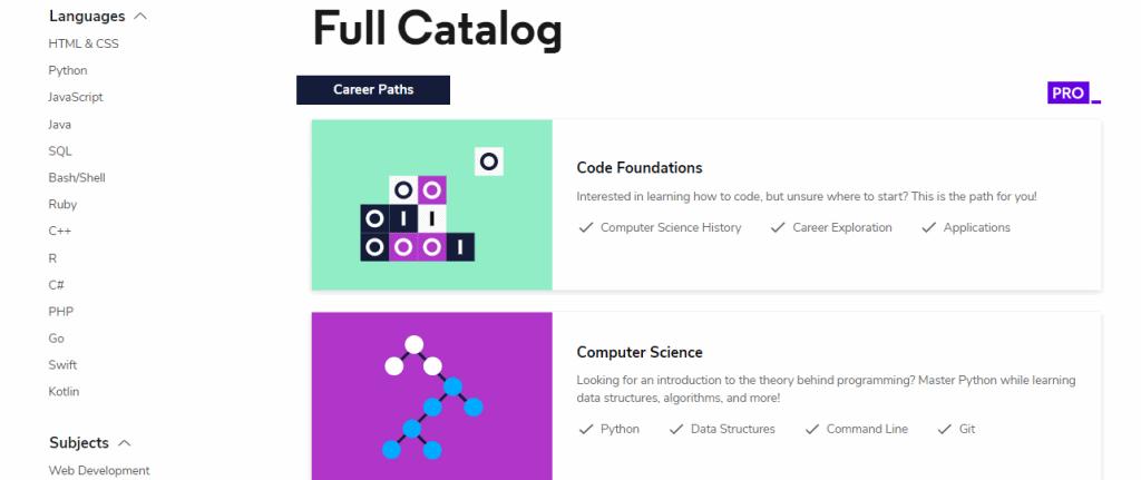 Codecademy Catalog